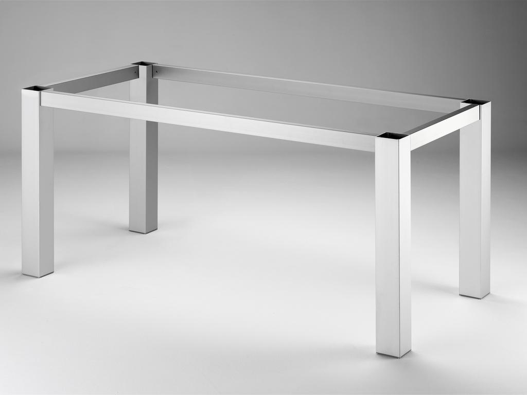 Tischgestell TG80, Tisch, edelstahlfarbig gebürstet, B 710 mm, T 710 mm