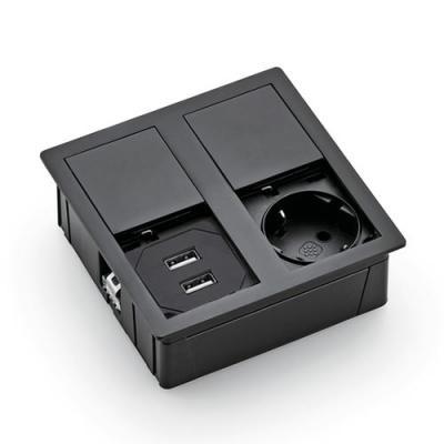 Plaza 2 USB, Einbausteckdosenelement, matt schwarz