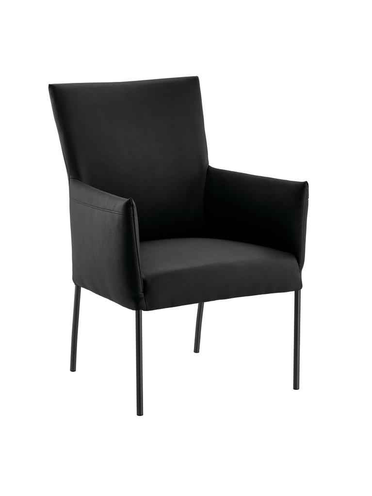 Rotolo, Stuhl, Gestell schwarz, Bezug schwarz