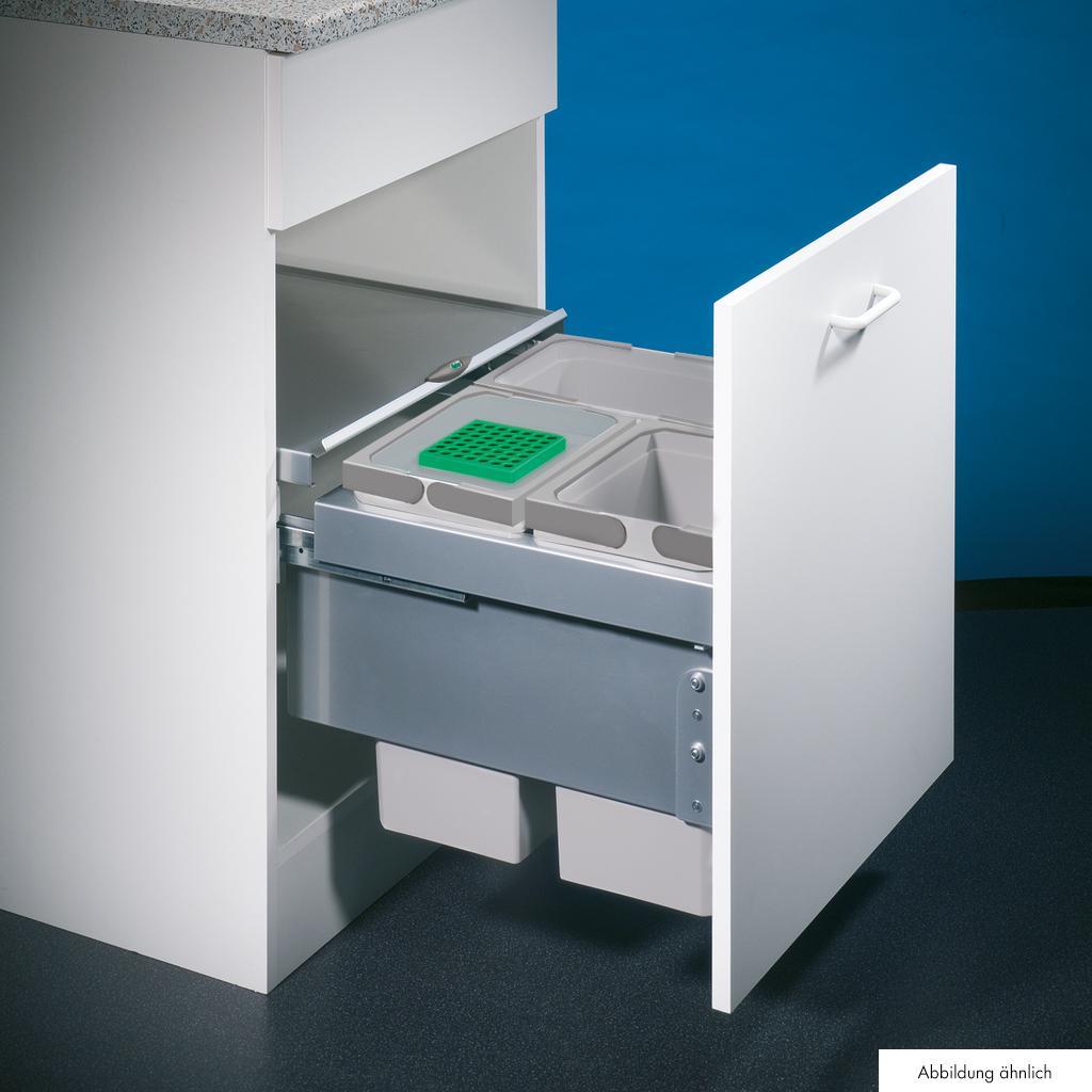 Cox® Base 360 S/500-3, Abfallsammler für Frontauszüge, mit Biodeckel, hellgrau, H 360 mm