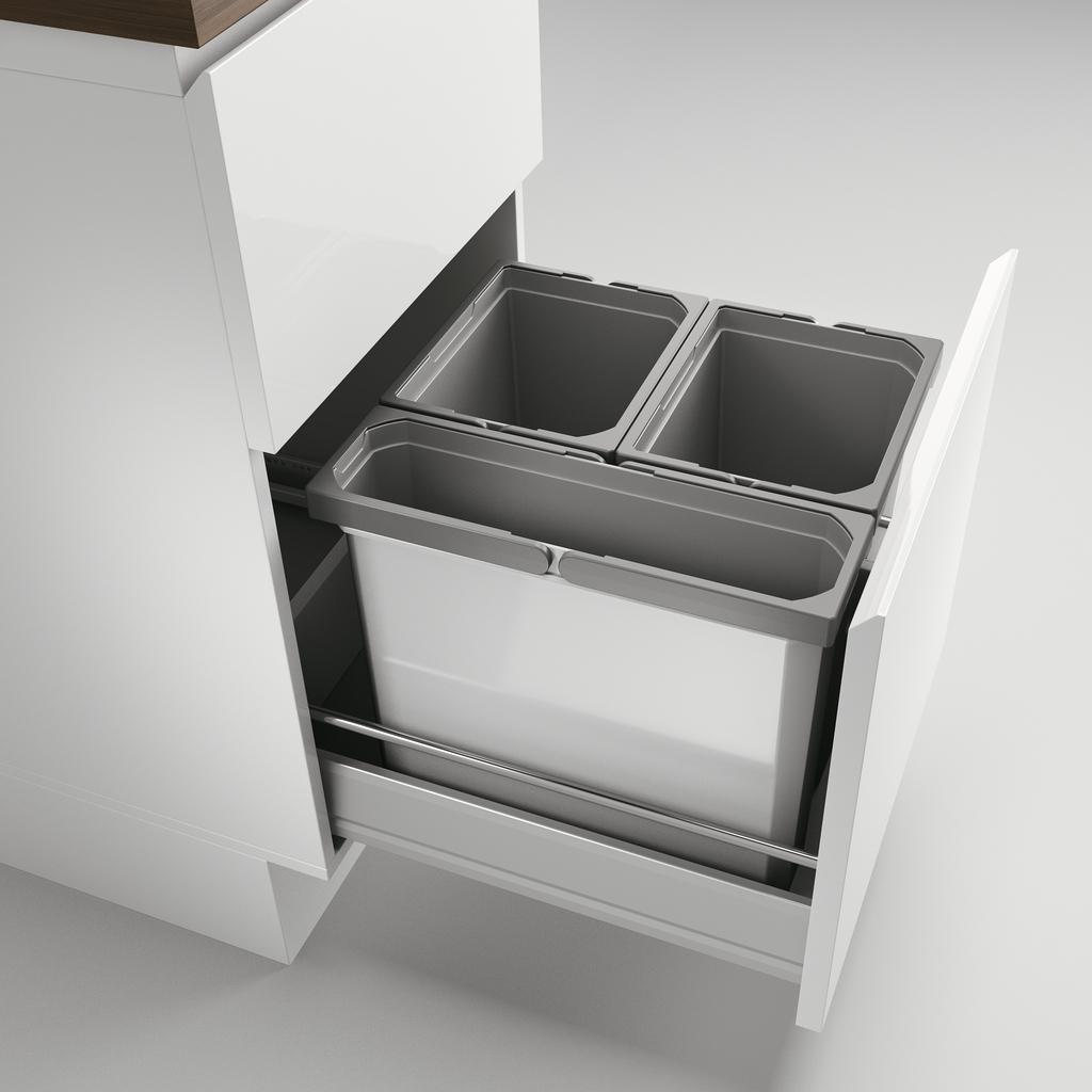 Cox® Box 360 S/450-3, Abfallsammler für vorhandene Auszüge, ohne Biodeckel, hellgrau