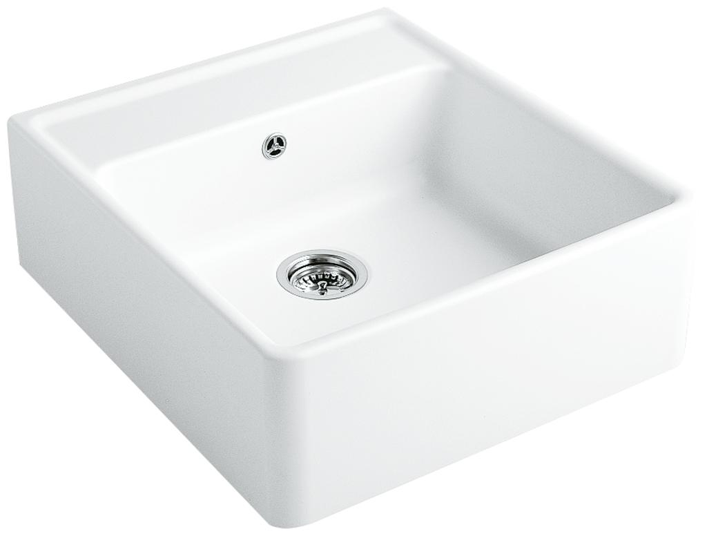 Spülstein Einzelbecken, Spülstein, weiß glänzend