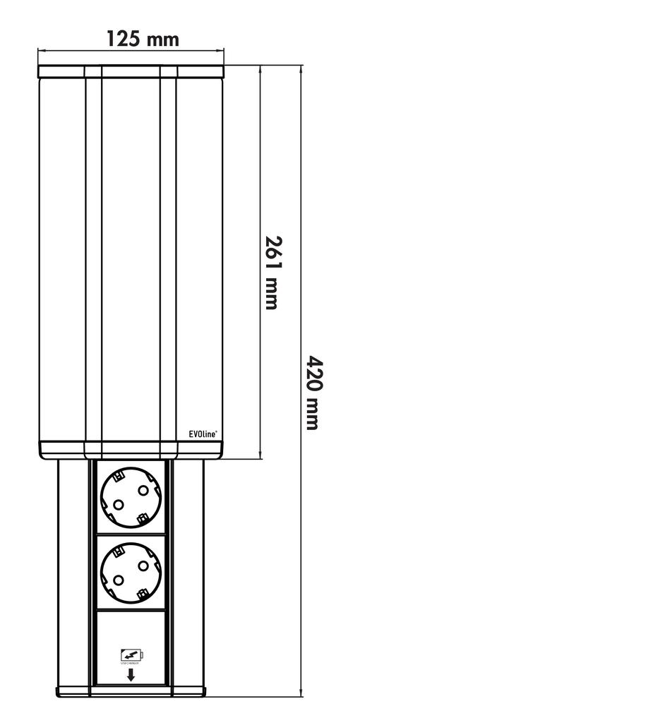 EVOline® V-Port, 2 Steckdosen, Edelstahl