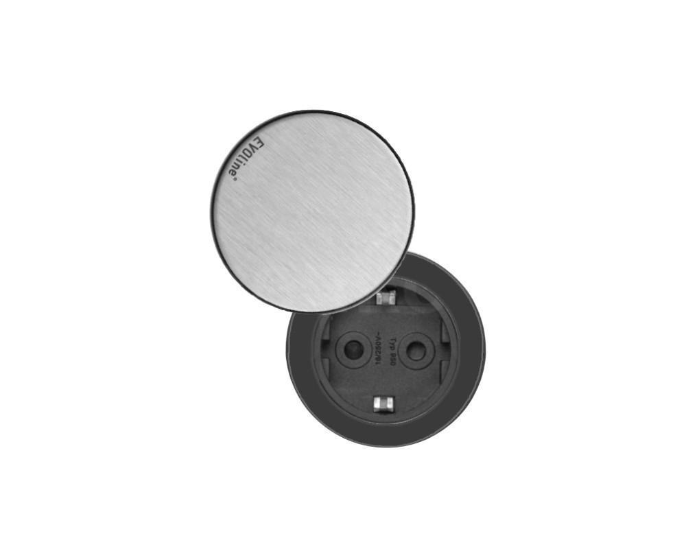 EVOline® One Steckdose schwarz mit Deckel Edelstahl