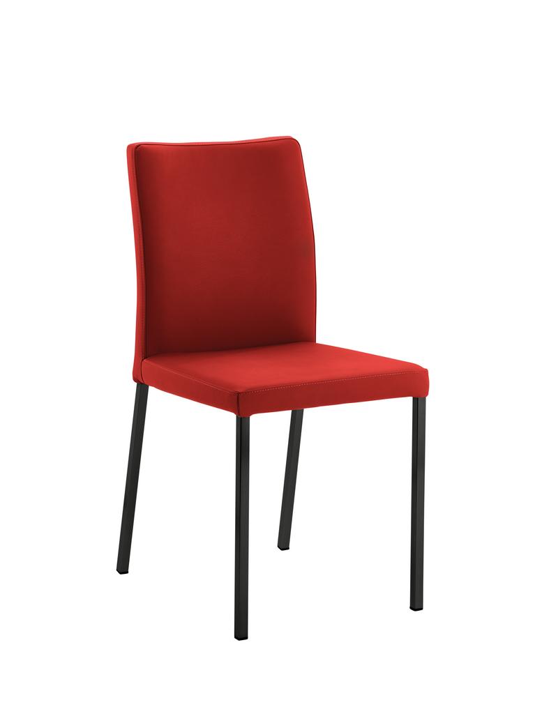 Borsa 1, Stuhl, Gestell schwarz, Bezug weinrot