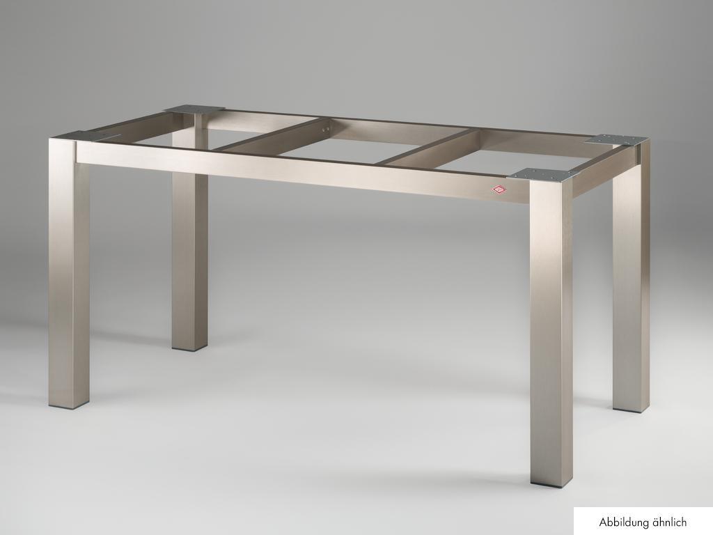 Tischgestell TG80 für Granitplatte, Tisch, edelstahlfarbig gebürstet, B 1960 mm, T 810 mm
