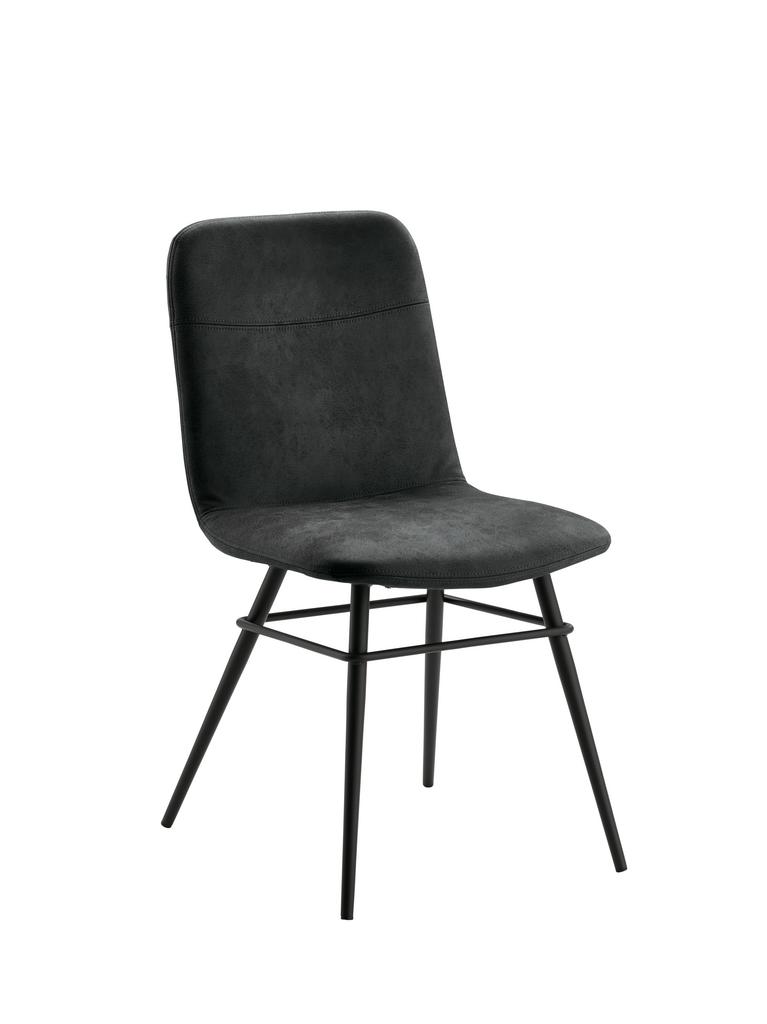 Felice 1, Stuhl, Gestell schwarz, Bezug schiefergrau