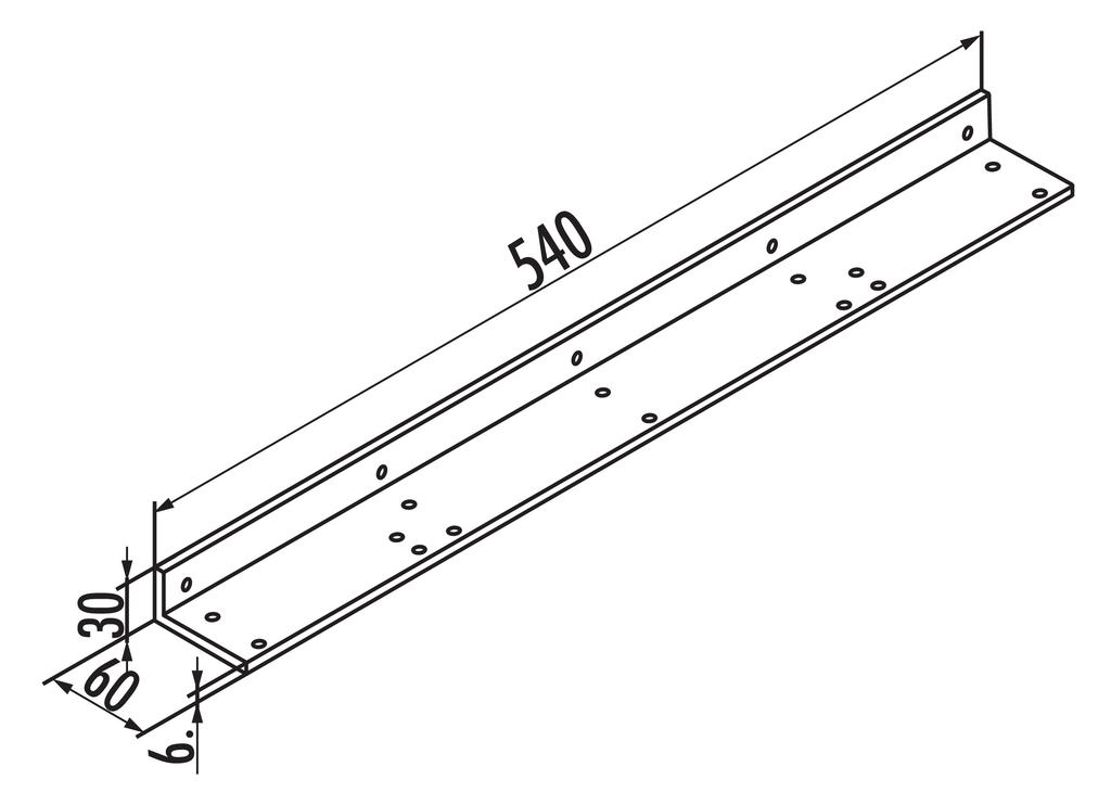 Befestigungswinkel für Anbautisch, Tisch, alufarbig RAL 9006, L 540 mm