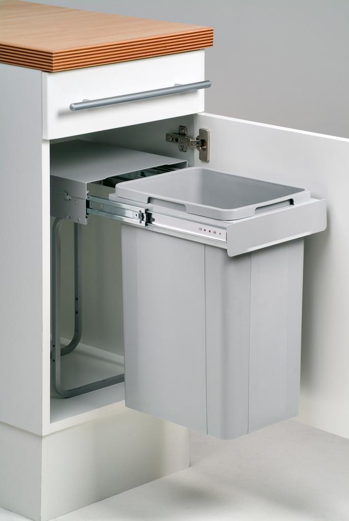 Bio Single 30 DT, Abfallsammler für Drehtüren, alu grau, 26 Liter, H 470 mm