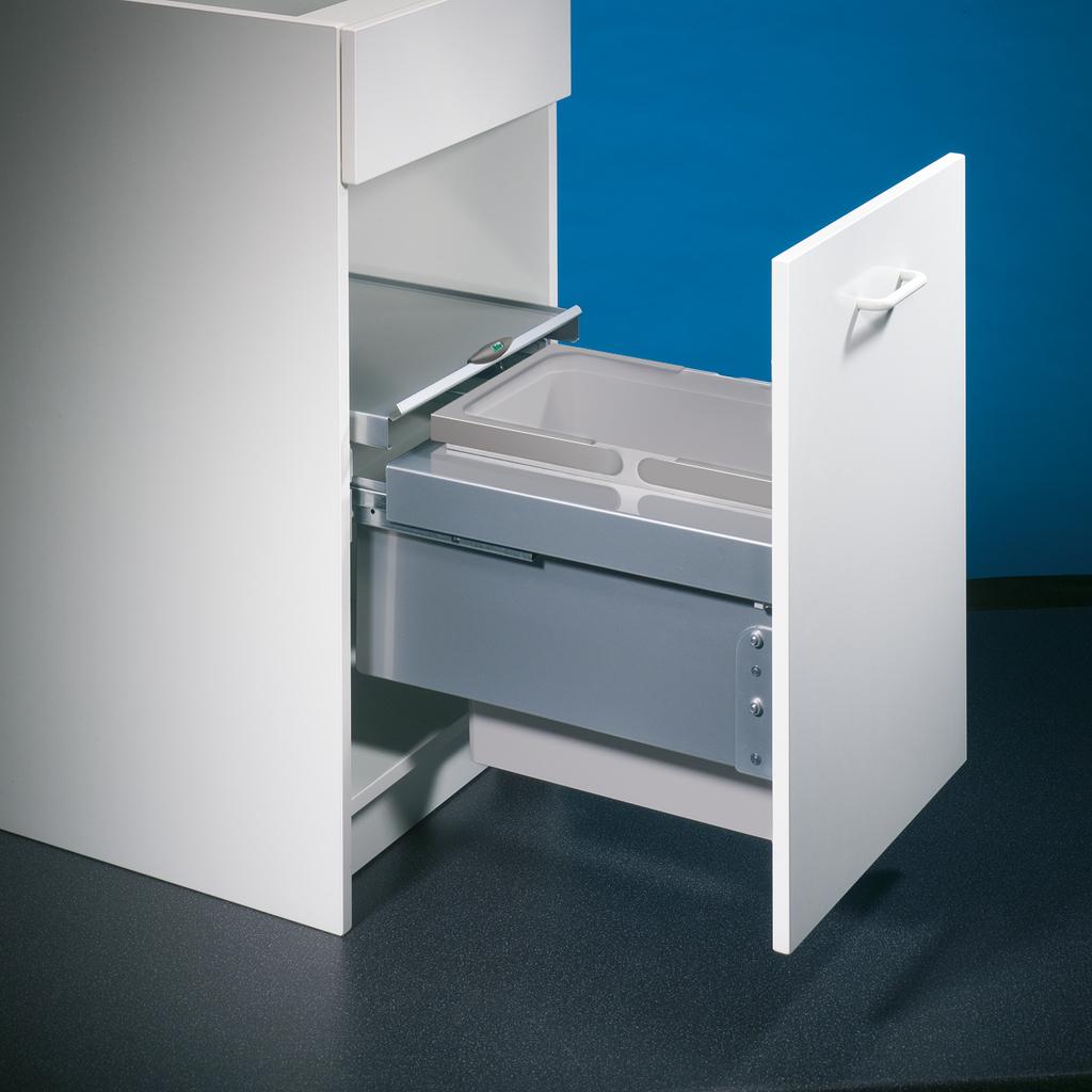 Cox® Base 360 S/400-1, Abfallsammler für Frontauszüge, hellgrau, H 360 mm