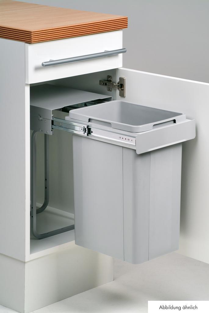 Bio Single 30 DT, Abfallsammler für Drehtüren, alu grau, 32 Liter, H 570 mm