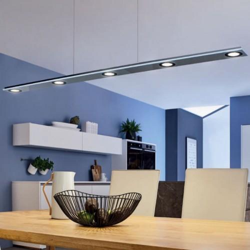 Cavo lang LED, Pendelleuchte, metallic, L 1200 mm, 5 x 4 W
