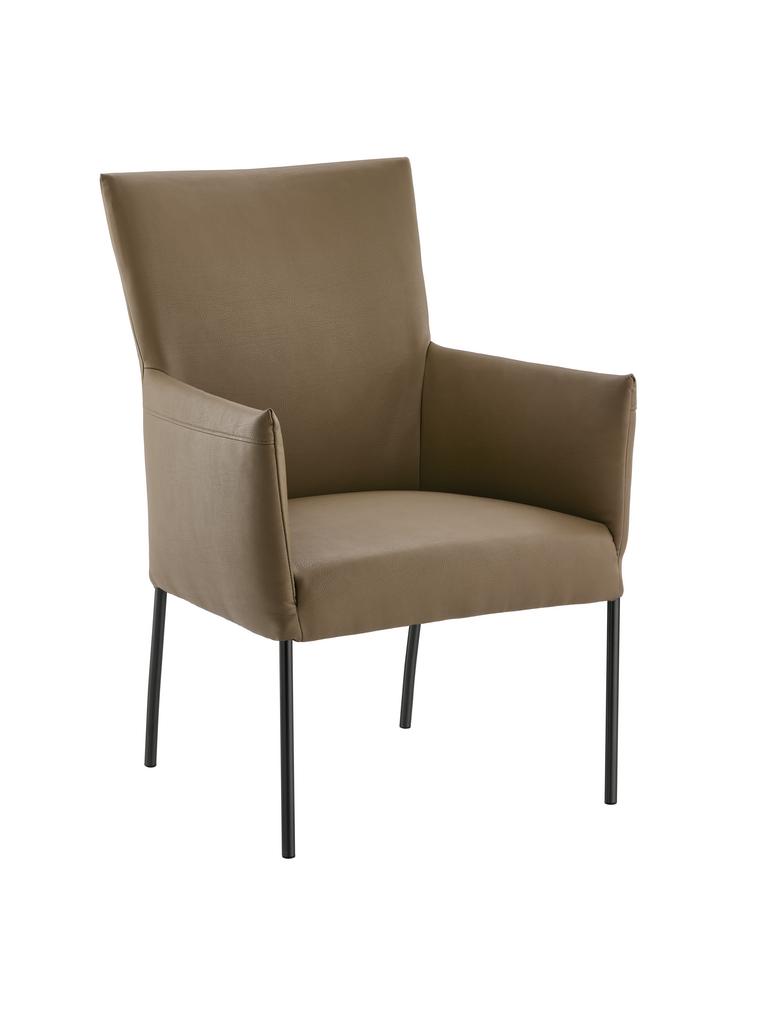 Rotolo, Stuhl, Gestell schwarz, Bezug khaki