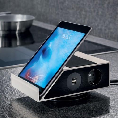 ConX-Hub inkl. Tablet-Halterung, Steckdosenelement, edelstahlfarbig