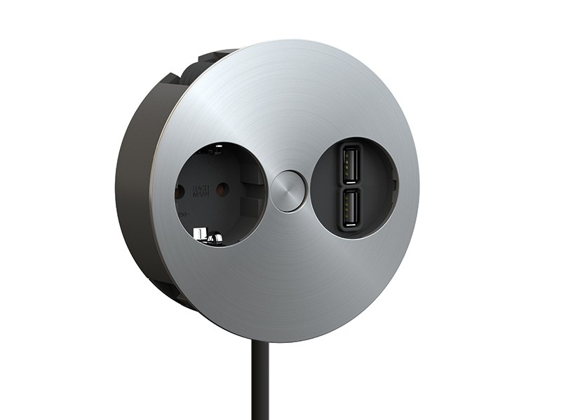 BACHMANN TWIST Steckdose u. USB-Doppelcharger Edelstahl Optik