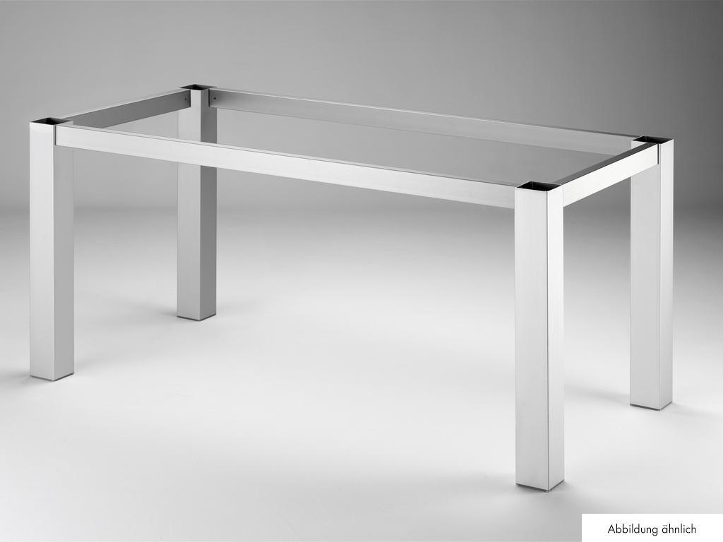 Tischgestell TG80, Tisch, edelstahlfarbig gebürstet, B 1460 mm, T 710 mm