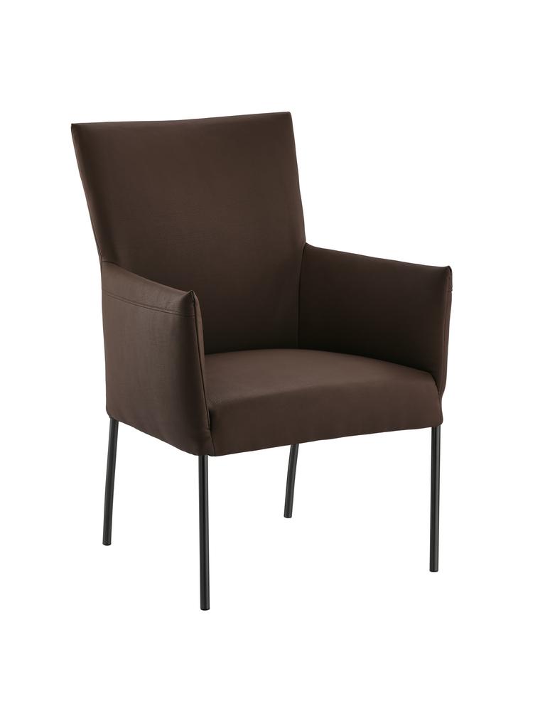 Rotolo, Stuhl, Gestell schwarz, Bezug espresso