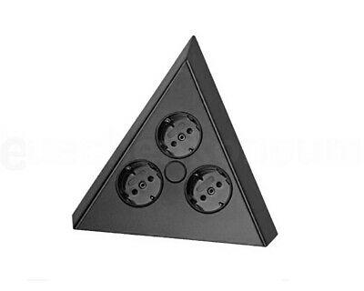 Ecksteckdose 3-fach, schwarz