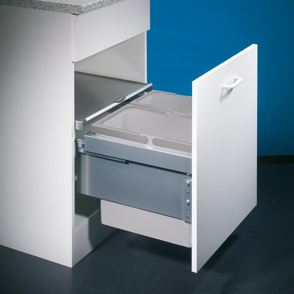Cox® Base 360 S/500-2, Abfallsammler für Frontauszüge, hellgrau, H 360 mm