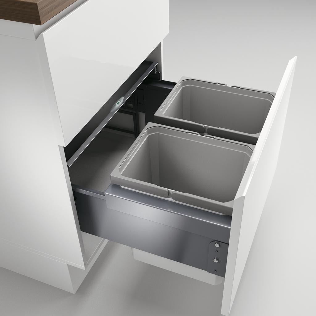Cox® Base 360 K/600-2, Abfallsammler mit Frontauszugssystem, ohne Biodeckel, hellgrau, H 360 mm