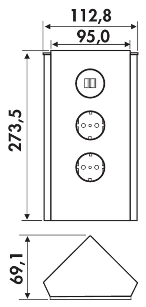 Mira Eck Glas USB, Ecksteckdosenelement, Edelstahl, Glas weiß