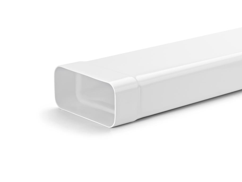 MF-VRM 125 Flachkanalrohr, Lüftungsrohr, weiß, L 1000 mm