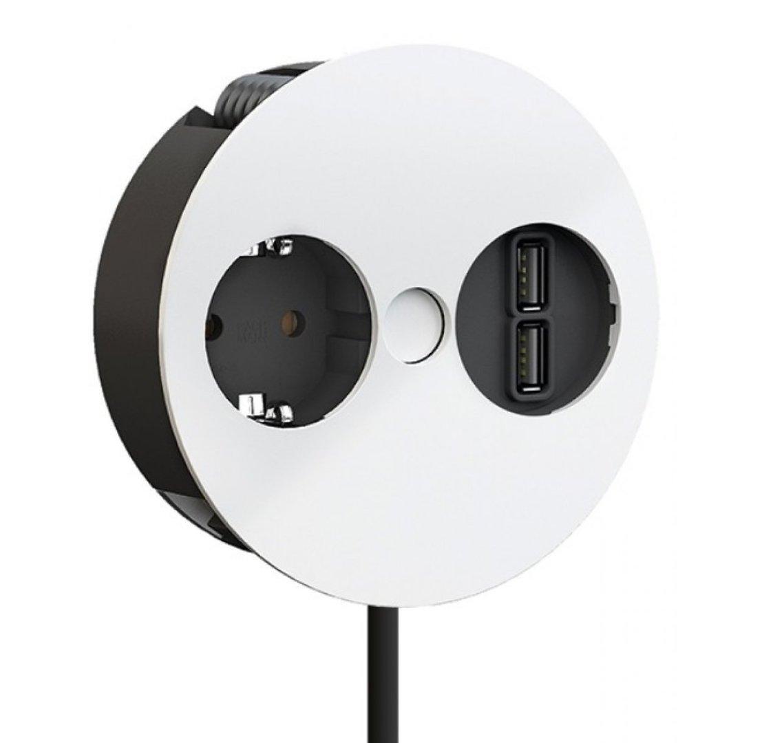 BACHMANN TWIST, Steckdose u. USB-Doppelcharger, weiß matt