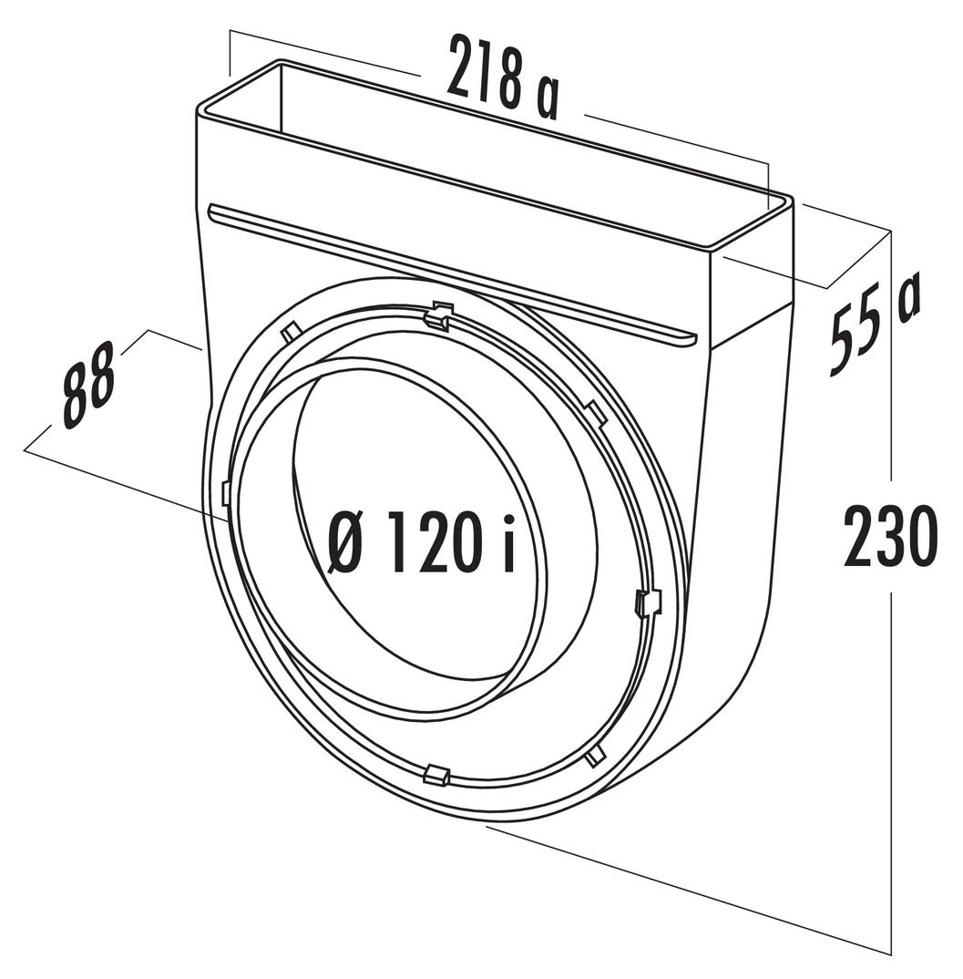 T-UR-EX 125 Umlenkstück 90°, exzentrisch, Verbindungselement, weiß