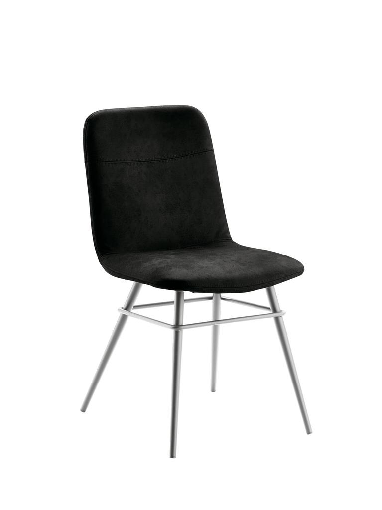 Felice 1, Stuhl, Gestell edelstahlfarbig, Bezug schwarz