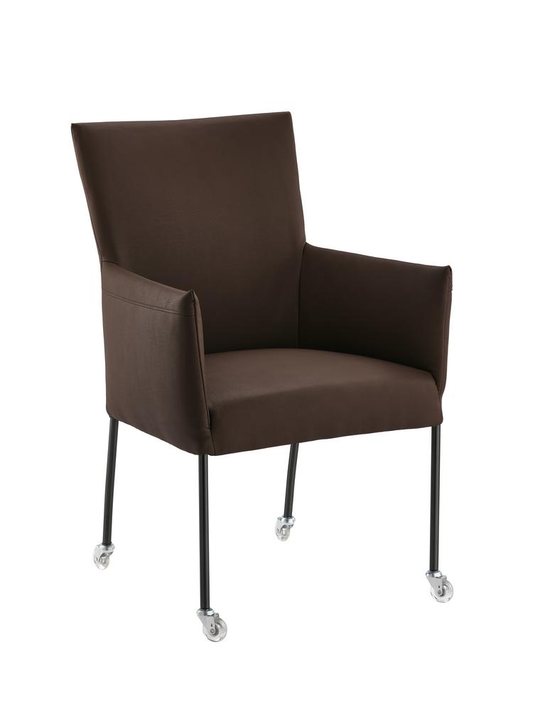 Rotolo R, Stuhl, Gestell schwarz, Bezug espresso