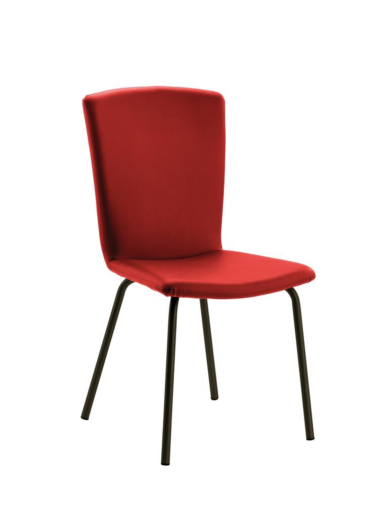 Modello 1, Stuhl, Gestell schwarz, Bezug weinrot