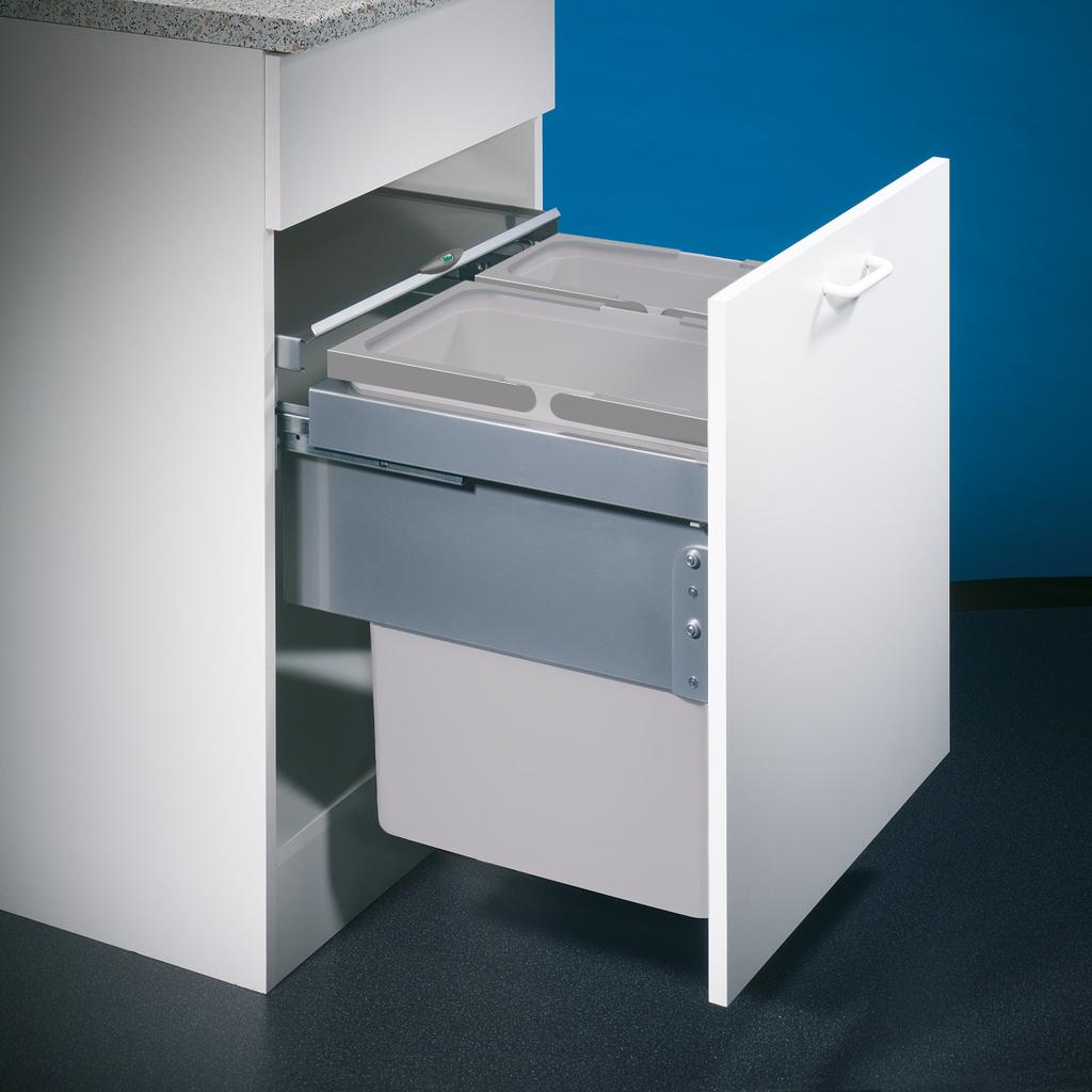 Cox® Base 460 S/500-2, Abfallsammler für Frontauszüge, hellgrau, H 460 mm