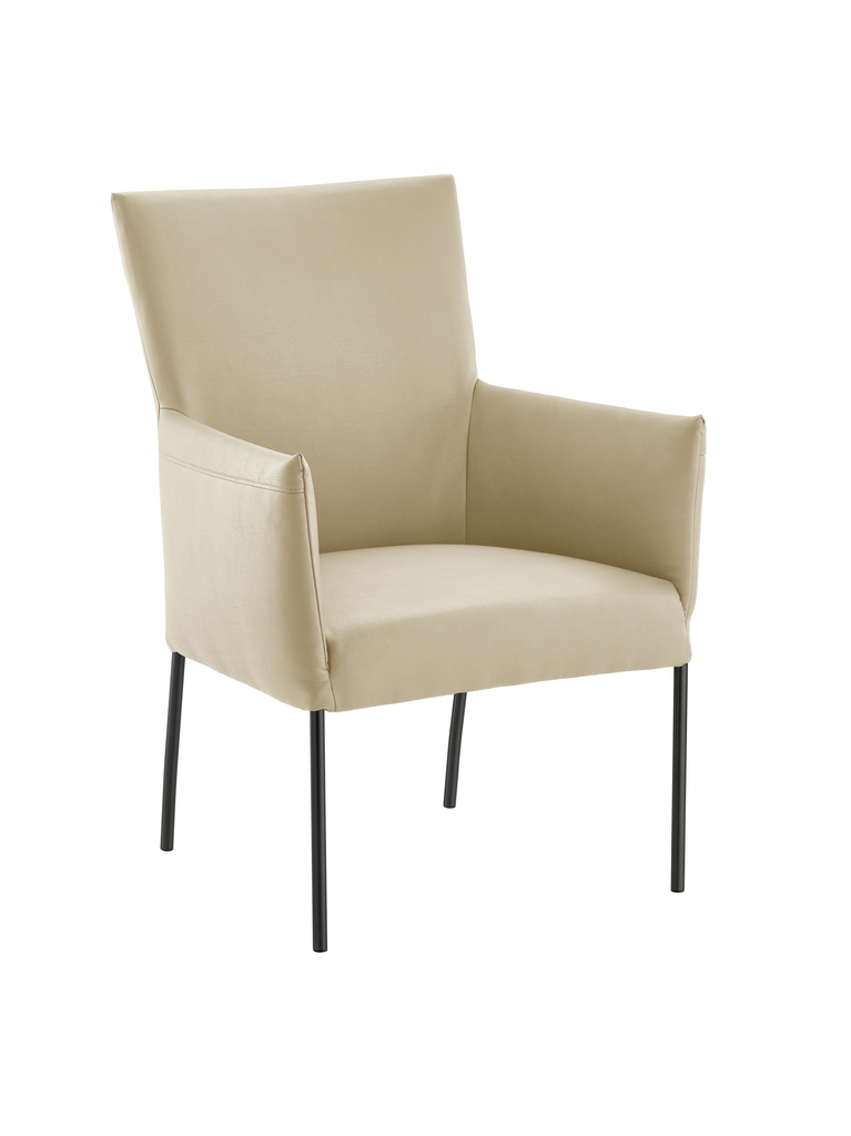 Rotolo, Stuhl, Gestell schwarz, Bezug ecru