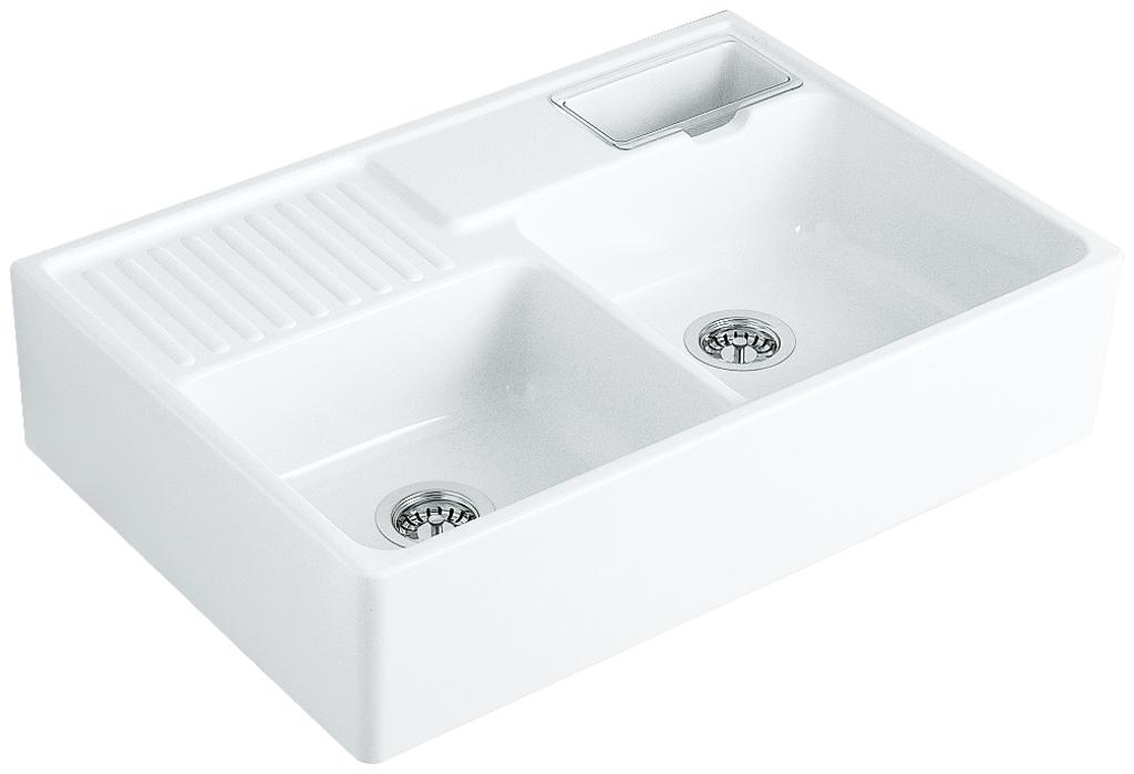 Spülstein Doppelbecken, Spülstein, weiß glänzend
