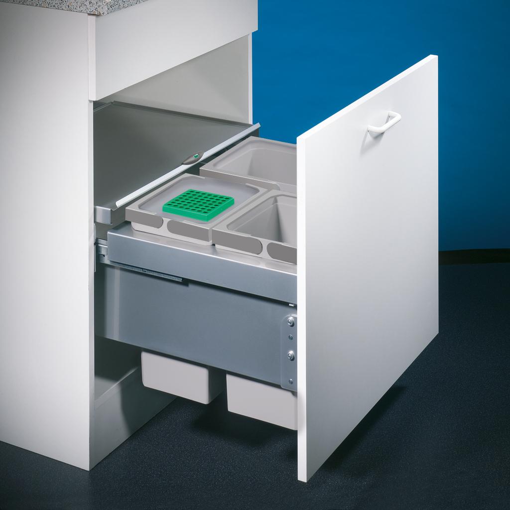 Cox® Base 360 S/600-3, Abfallsammler mit Frontauszugssystem, mit Biodeckel, hellgrau, H 360 mm