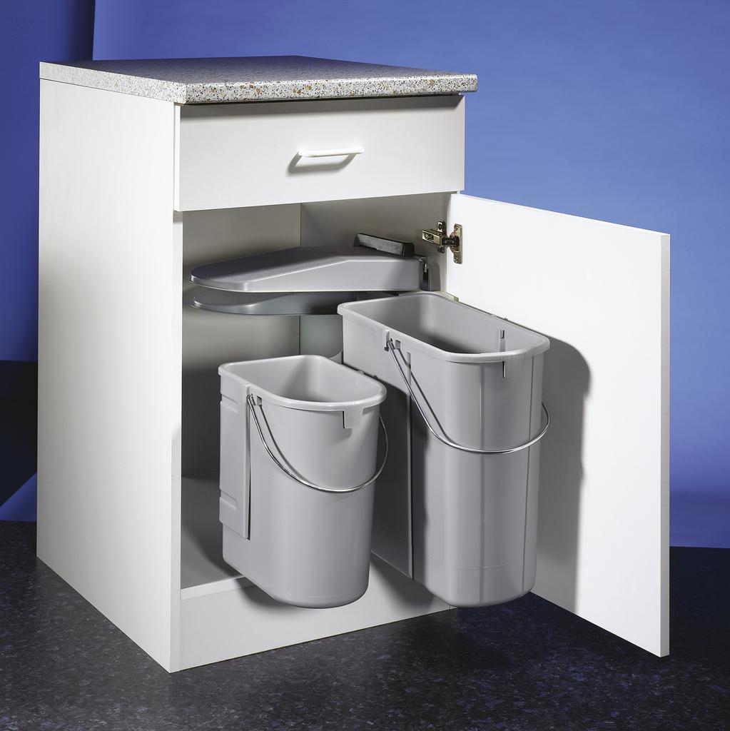 Öko 1, Abfallsammler für Schwenktechnik, alu grau