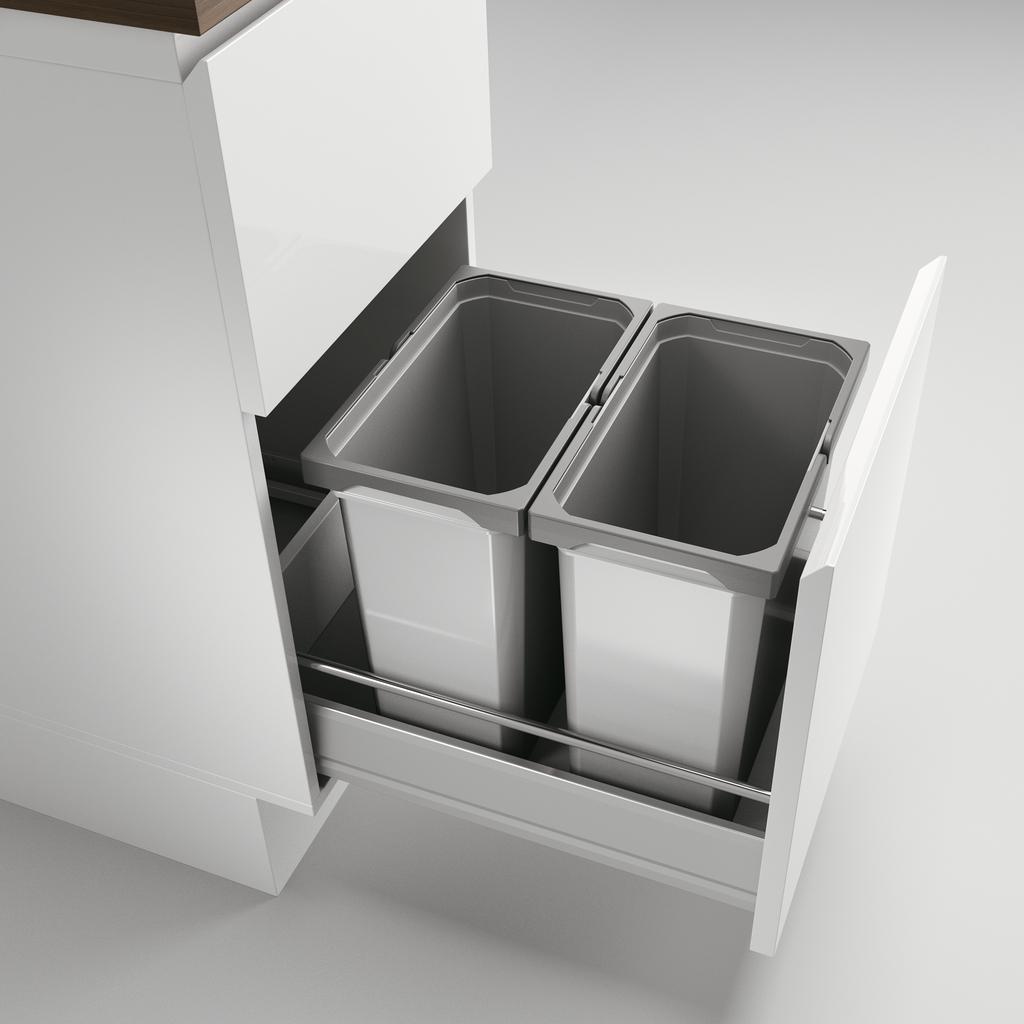Cox® Box 360 S/400-2, Abfallsammler für vorhandene Auszüge, ohne Biodeckel, hellgrau
