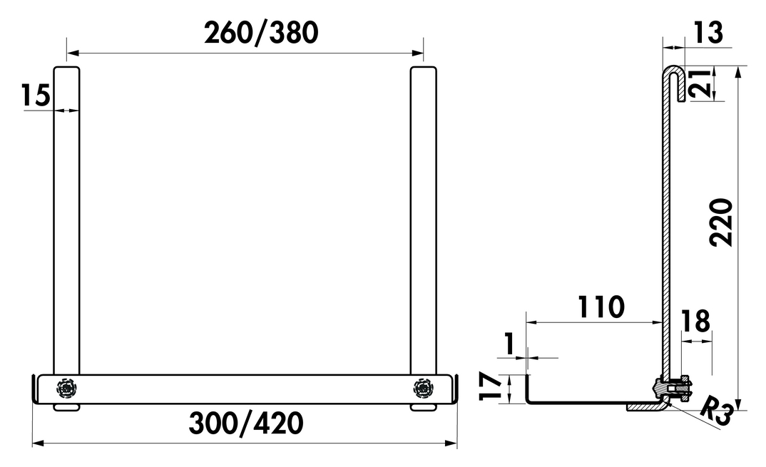 Cast Ablage, Relingsystem, B 420 mm