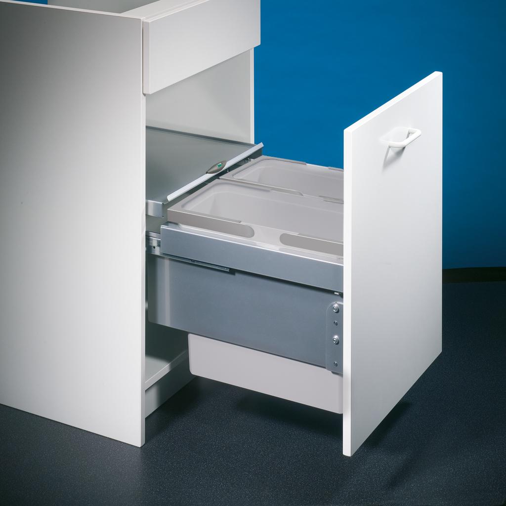 Cox® Base 360 S/450-2, Abfallsammler für Frontauszüge, hellgrau, H 360 mm