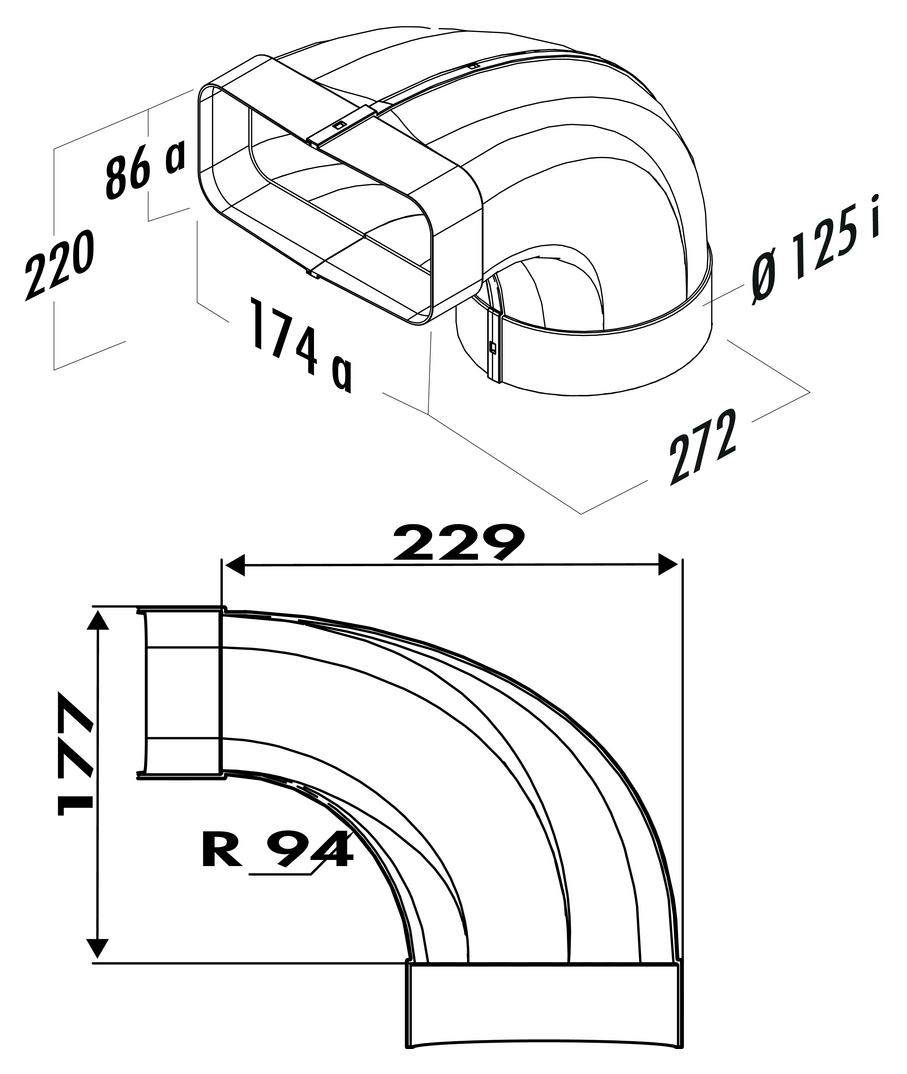 F-bion 125 Umlenkstück 90°, Verbindungselement, weiß