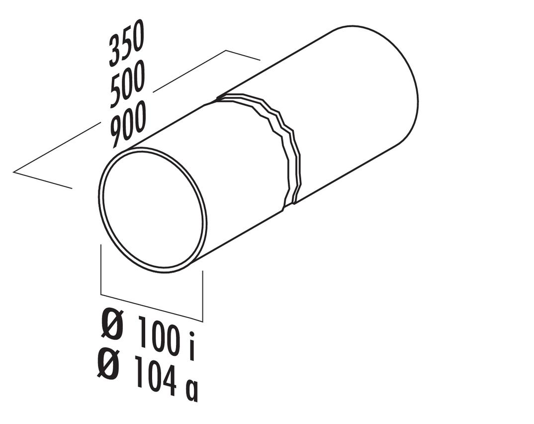 Rundrohr 100, Lüftungsrohr, weiß, L 900 mm