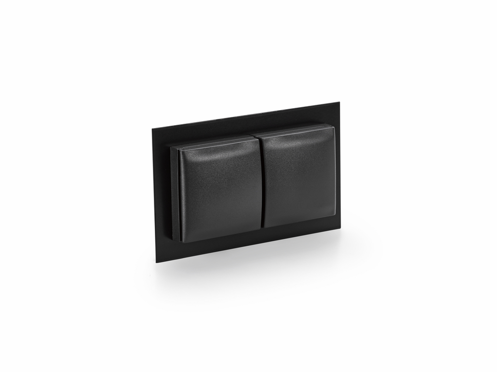 Steckdose 2-fach mit Klappdeckel in schwarz