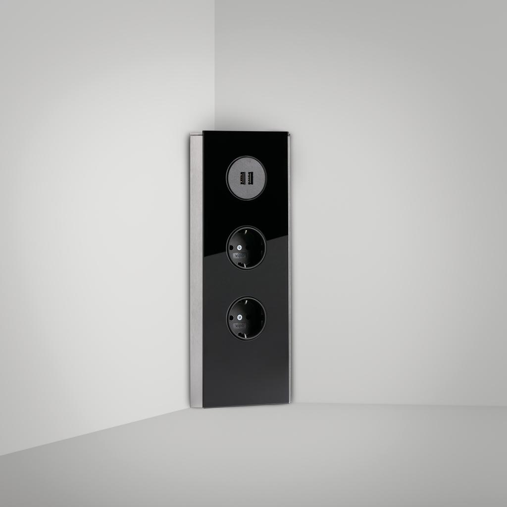 Mira Eck Glas USB, Ecksteckdosenelement, Edelstahl, Glas schwarz
