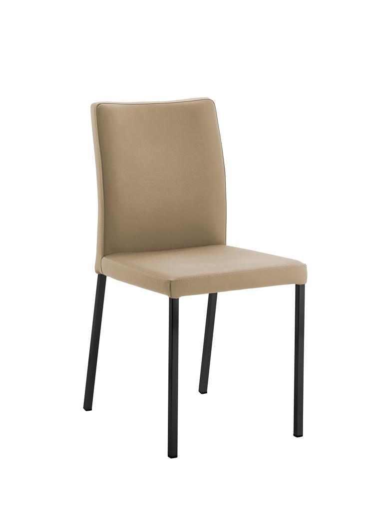 Borsa 1, Stuhl, Gestell schwarz, Bezug beige