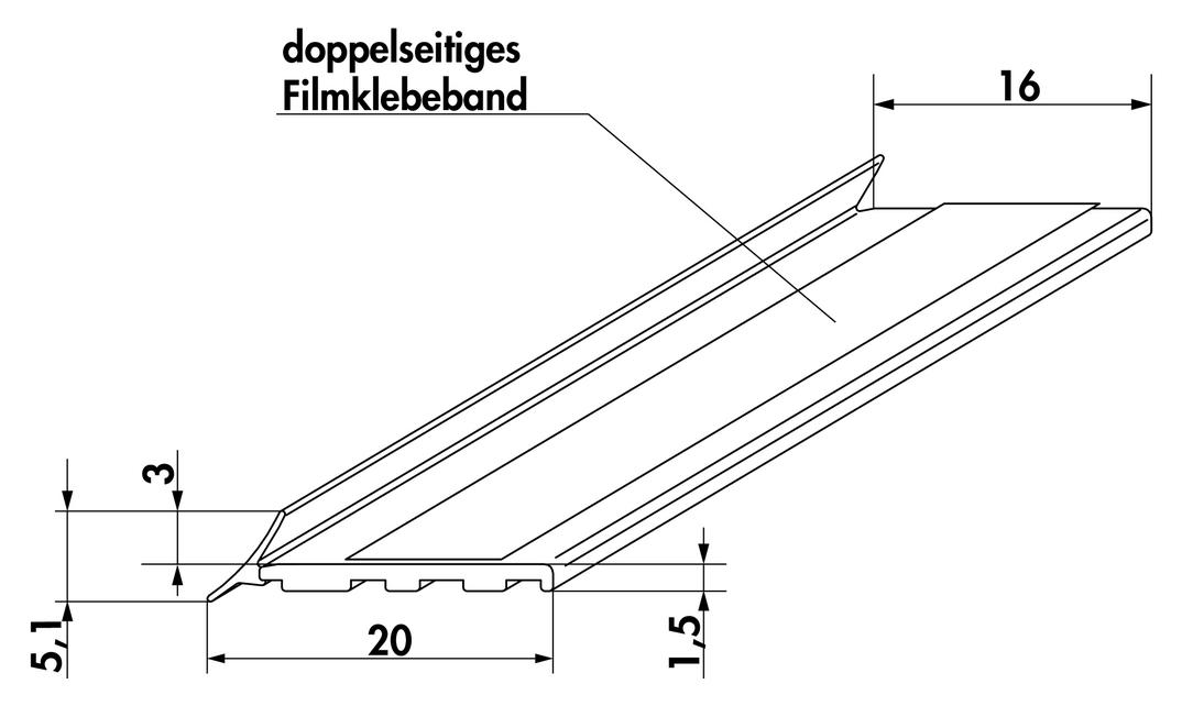 System Dichtprofil, Wandanschlussprofil, transparent